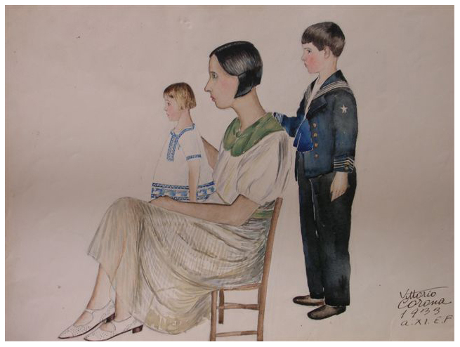 Mamma e figli in posa, acquerello, 1933, collezione privata
