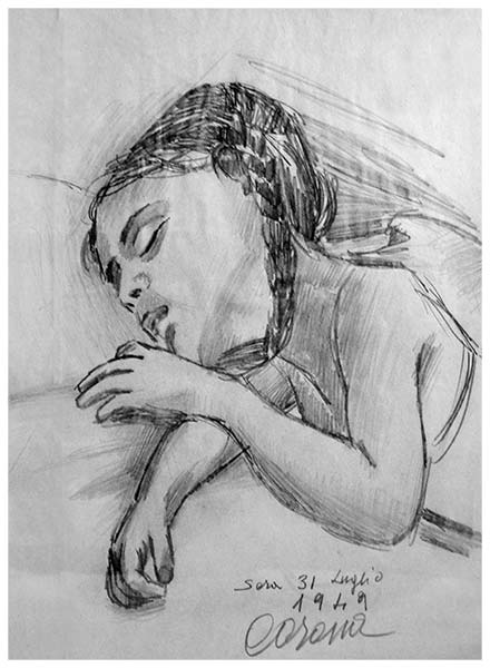 Maria Teresa, matita su carta, 1949, collezione privata