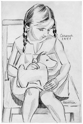 Maria Teresa, 2, matita su carta, 1951, collezione privata