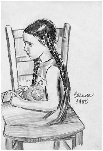 Maria Teresa con bambolotto, matita su carta, 1950, collezione privata