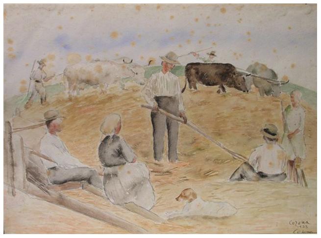 Pestatura del grano, acquerello, 1933, collezione privata