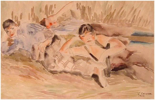 Piccoli amici in posa, acquerello, 1936, collezione privata