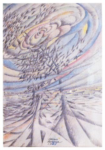Primavera + cinguettio, inchiostro e pastelli su carta, 1921, collezione privata