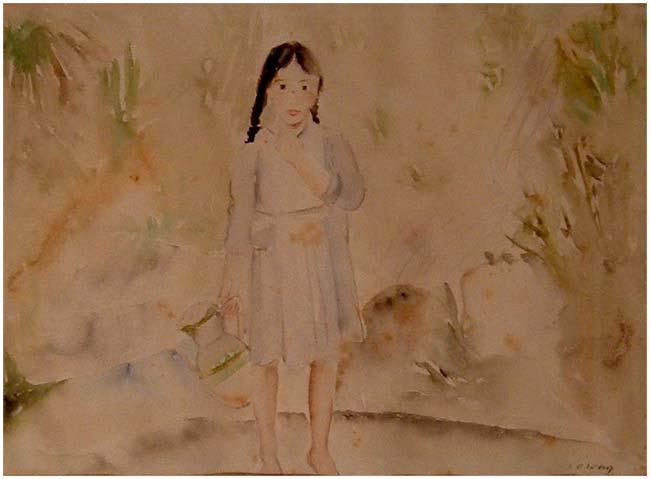 Ragazza alla sorgente, acquerello, 1936-1937, collezione privata