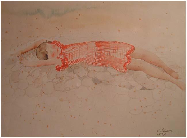 Ragazza distesa, acquerello, 1937, collezione privata