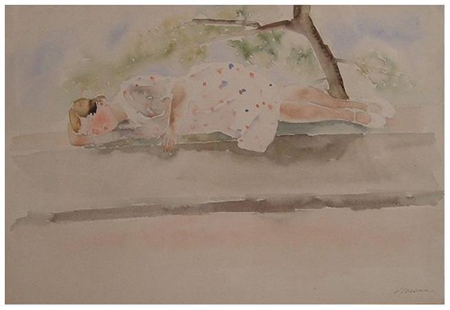 Ragazza sul muretto, acquerello, 1937, collezione privata