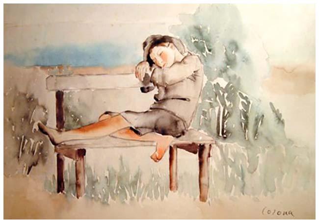 Ragazzo che dorme sulla panchina, acquerello, 1937, collezione privata