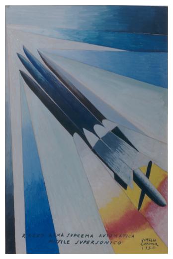 Razzo arma suprema automatica missile supersonico, tempera, 1954, collezione privata