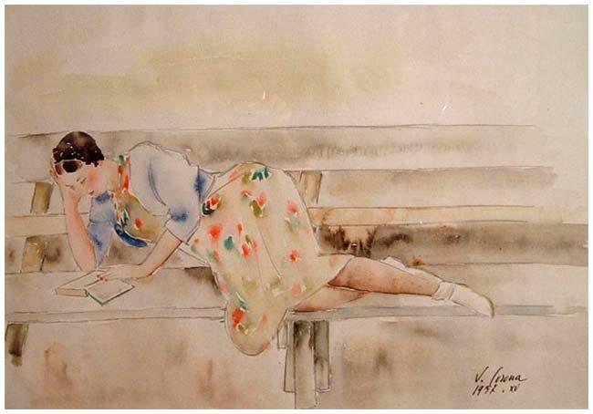 Riposo, acquerello, 1937, collezione privata