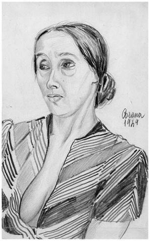 Ritratto di Gigia, matita su carta, 1949, collezione privata