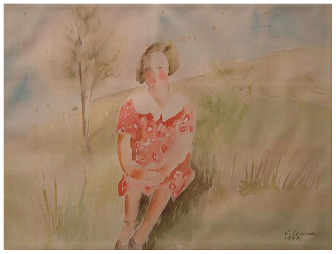 Seduta in posa, acquerello, 1937, collezione privata