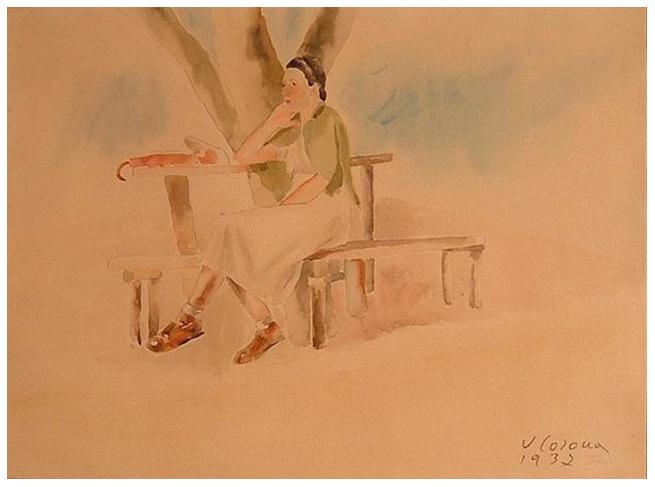Sosta, acquerello, 1937, collezione privata