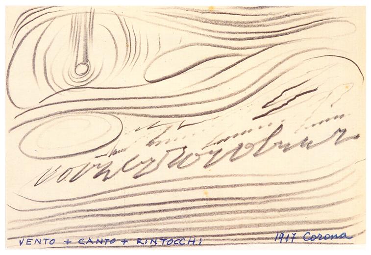 Vento + canto + rintocchi, matita su cartoncino, anni 60, collezione privata