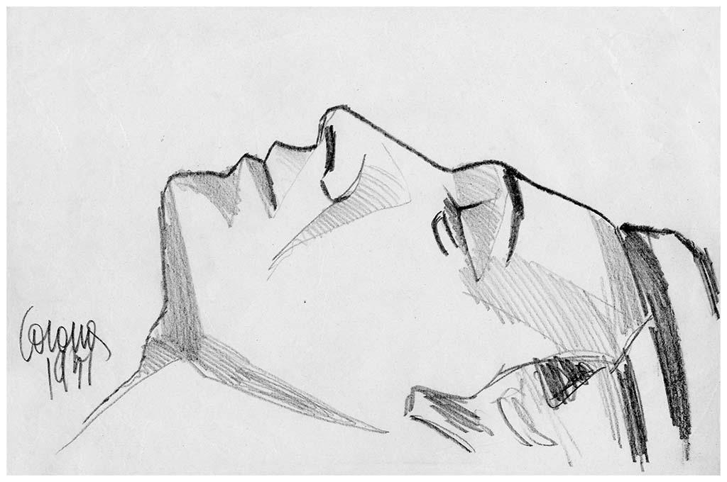 Vittorio che dorme, matita su carta, 1951, collezione privata
